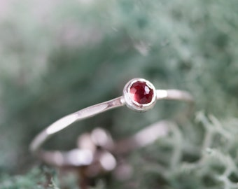 Red Garnet - skinny stackable ring with Almandine Garnet, January birthstone, sterling silver, 9k gold
