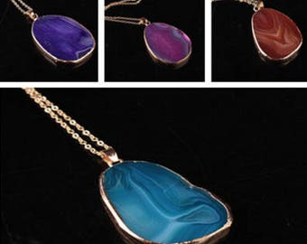 Colorcul Geode Slice Natural stone oval charm pendant necklace- Gold-dipped Natural Stone