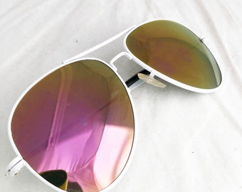 Aviator Sunglasses- Mirror lens white  pink vintage glass lenses by Taiwan ROC