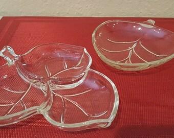 Vintage cut glass leaf shaped serving dishes