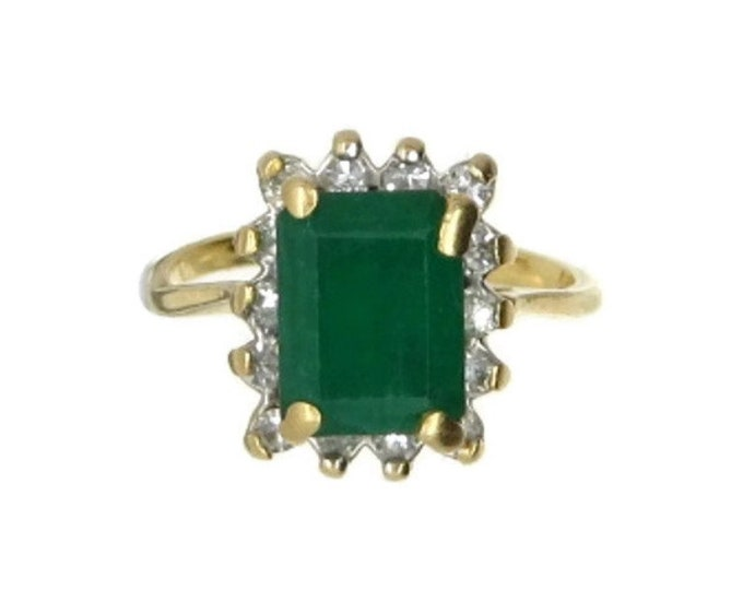 Synthetic Emerald & CZ Ring, Vintage 14K Gold Cocktail Ring, Pinky Ring, Size 2.5