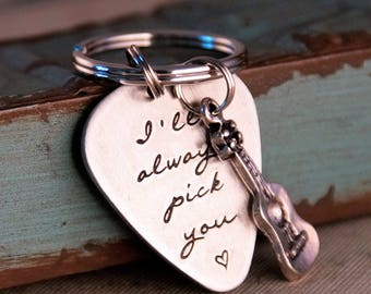 Hand Stamped Guitar Pick Key Chain / Aluminum Guitar Pick / I'll always pick you / Acustic guitar 'Limited Edition'