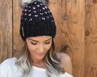 Fair Isle Wool Blend Knit Hat || Charcoal Black Blossom Baby Pink Faux Fur Pom Pom Hair Heart Cap Earwarmer Fashion Girl Chunky Fall Winter