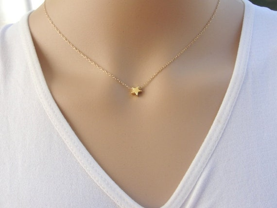 Tiny star necklace gold star necklace delicate gold filled aloadofball
