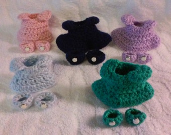 Crochet Clothing Play Set for Sleepy Bunny Tiny Dresses with Matching Shoes Inexpensive Accessories for Bunny Doll Free Shipping