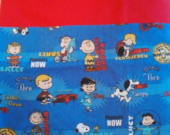 Embroidered Peanuts 60th Anniversary Flannel Pillowcases. Snoopy, Charlie Brown, Lucy, and Linus