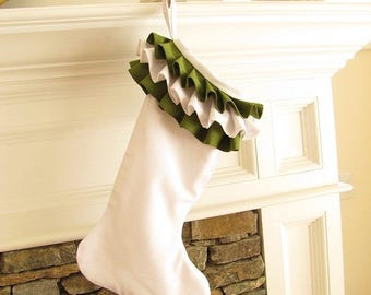 Linen Christmas Stocking White Green Ruffle Top