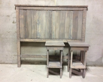 Reclaimed wood headboard and night tables