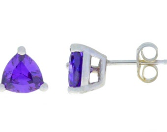 2 Ct Amethyst Trillion Stud Earrings .925 Sterling Silver Rhodium Finish
