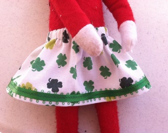 St Patrick's Day Elf Skirt White & Green Clover Shamrocks by Christmas Shelf Clothes for Girl Elf 12 INCH or Pixie NEW