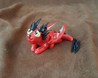 Red and Black Polymer Clay Dragon