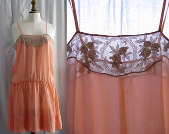 Lingerie 1920's style, Silk slip, embroidered tulle, fully hand-stitched, peach nectar color