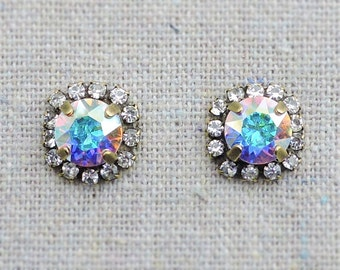 Swarovski Crystal Iridescent Pave Halo Bridal Post Earrings Brilliant Cut Stone Studs Wedding Bridesmaids Ask Gifts