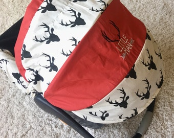 Red Baby Car Seat Cover, Ivory and Black Deer Car Seat Cover, Little Man Baby Covers, Infant Car Seat Covers, Ritzy Baby Car Seat Covers