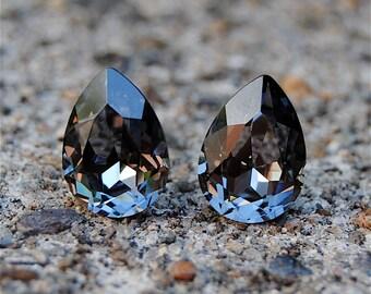 Gray Bridesmaid Earrings Silver Night Swarovski Crystal Pear Stud Earrings or Tear Drop Dangles Gray Bridesmaids Earrings Clip On Studs Dark