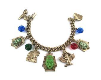 Green Asian Princess Bracelet/ Eypytian Hierogliphics / Sphinx  Pyramid Pharaoh Charms/ Neiger Czech Egyptian Motif/Winged goddess  Isis