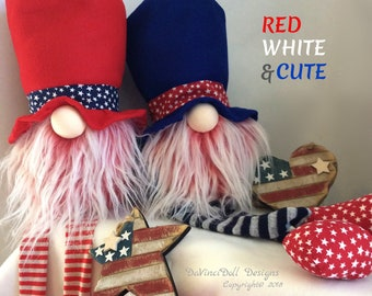 RED WHITE &CUTE Collection by DaVinciDoll Designs,  patriotic Nordic Gnome, 4th of July, Independence Day Gnome, Memorial Day Tomte