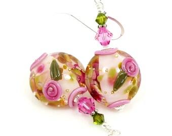 Pink Floral Earrings, Bead Earrings, Lampwork Earrings, Glass Earrings, Glass Bead Earrings, Flower Earrings, Lampwork Jewelry, Pink Jewelry