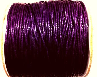 3 meters of waxed cotton Purple 1 mm