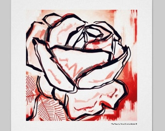 Rose flower, modern rose flower art print, red rose flower art, original modern red pop rose print, red rose print, red rose art gift print