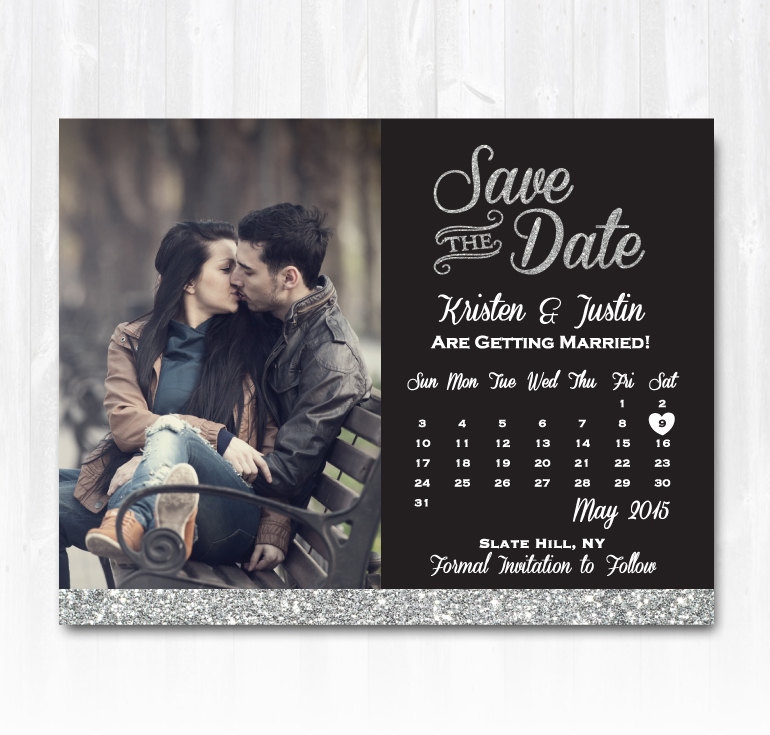 Silver glitter save the date magnet or card diy printable for Diy save the date magnets template