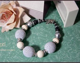 Crochet Bead Necklace. Grey Crochet Jewelry. Statement Necklace. Crochet Wooden Bead Necklace. Big Wooden Bead .Gift for her