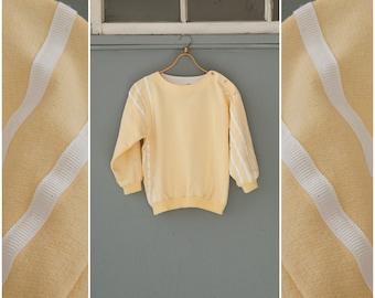 Vintage 80s Sweatshirt Womens Small Striped Sweatshirt Pastel Yellow Boxy Cropped Jumper White Stripes Long Sleeve Top Petite Sweatshirt S