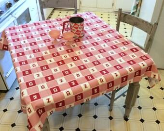 Vintage Startex Tablecloth Red Clocks & Checks MWT Retro Kitchen