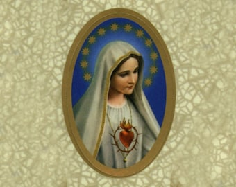 Our Lady of Fatima Oval Stickers - 1 Sheet of 11 Stickers
