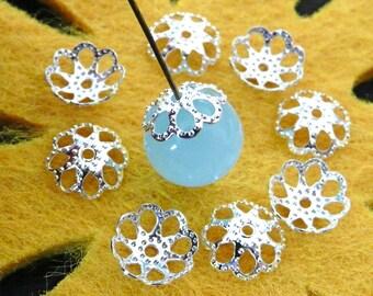 FG-FG-01005 - argenté, Bead caps, 24pcs-