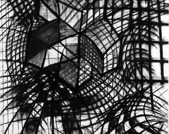Original Abstract Minimalist Black and White Charcoal Drawing 18x24