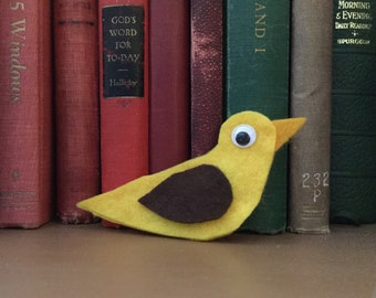 Felt Bird Ornament, Yellow and Brown, Peppermint Sachet