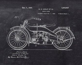 Harley Davidson Motorcycle Patent Art Print - Harley Davidson Patent Art Print - Motorcycle Patent Print - Vintage Motorcycle Patent Print
