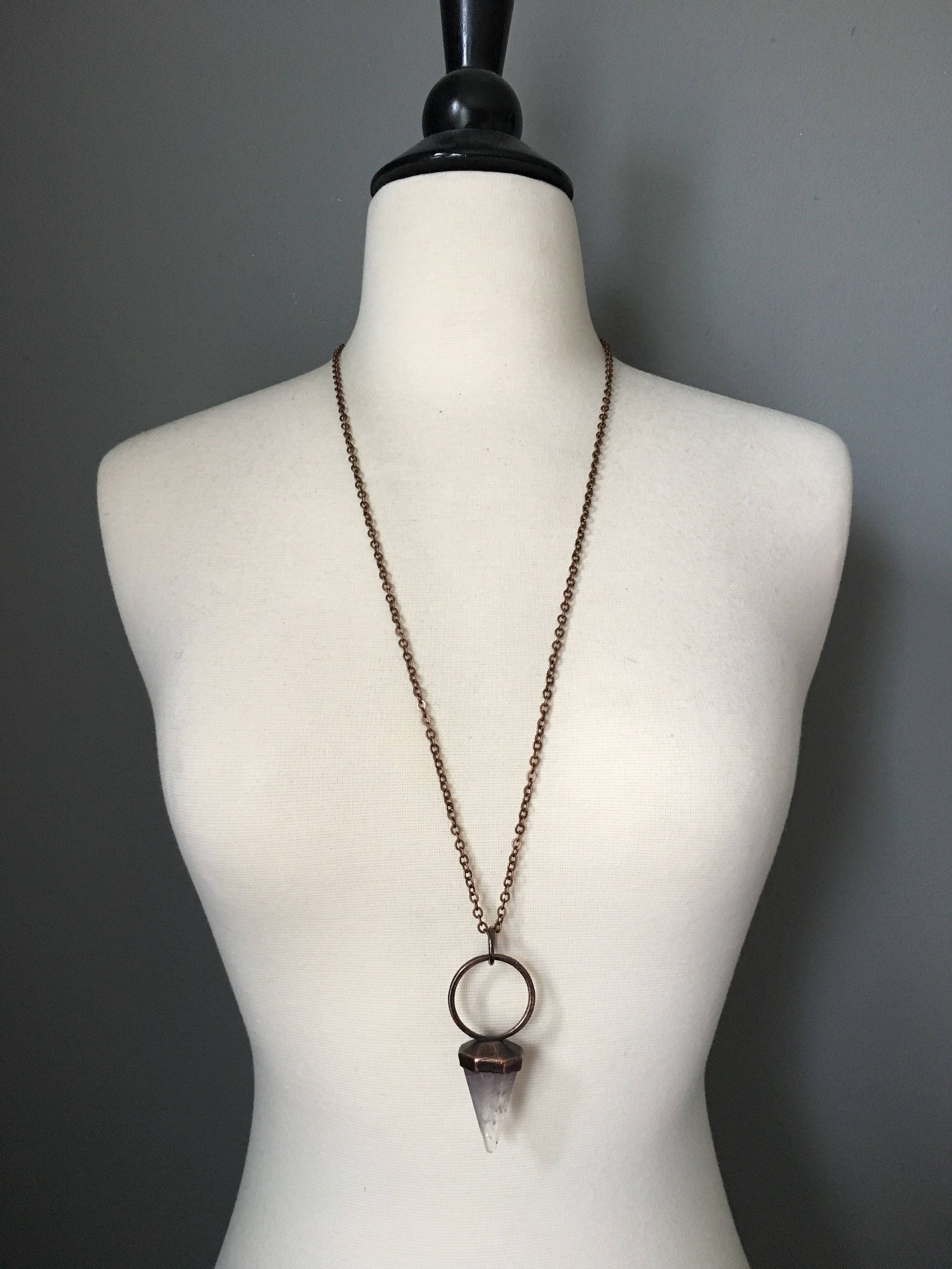 Amethyst necklace large crystal necklace crystal pendulum necklace shipping aloadofball Gallery