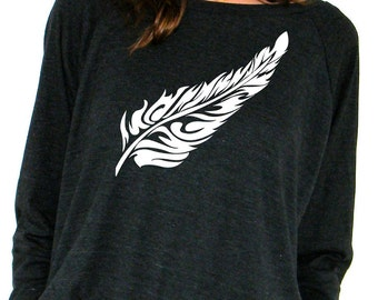 Womens Long Sleeve Sweatshirt - Flow Feather - American Apparel Raglan Pullover - Small, Medium, Large