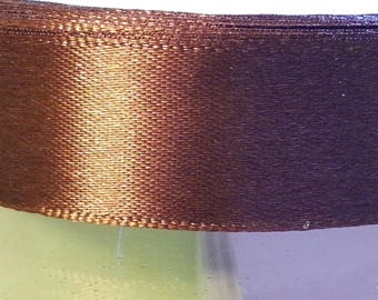 1 meter of 20mm wide Brown satin ribbon