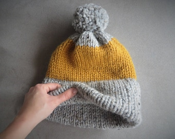 Hand Knit Super Bulky Double Brim Beanie