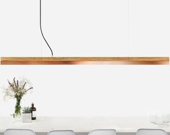 Pendant light long [C3o]copper oak wood lamp