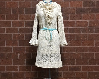1960s Lace Dress with Ruffled Neckline