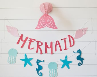 Mermaid Birthday Party Decorations-Set of two Banners- 6 ft Mermaid Baby Shower Banners - Mermaid Themed Room Decorations-Mermaid Banner