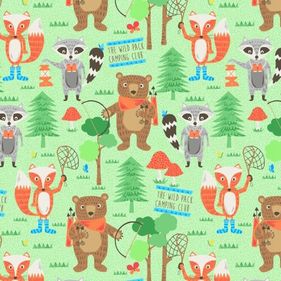 Woodlands Campsite At The Formula 1: Blank Quilting Camping Club Woodland Animals Fabric 1 Yard
