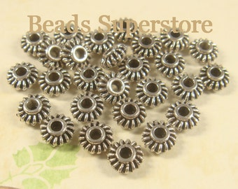 7 mm x 3 mm Antique Silver Spacer Bead - Nickel Free, Lead Free and Cadmium Free - 25 pcs