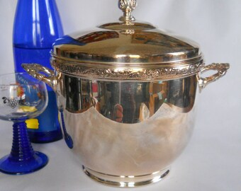 Silver Plated Ice Bucket, Pyrex Liner, Vintage Barware, Mid-century Ice Bucket