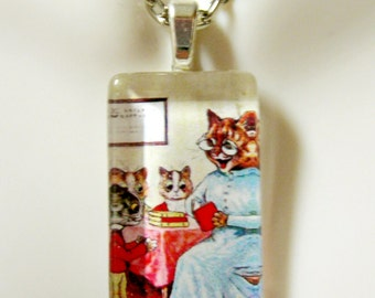 Cats at school pendant and chain - CGP09-037