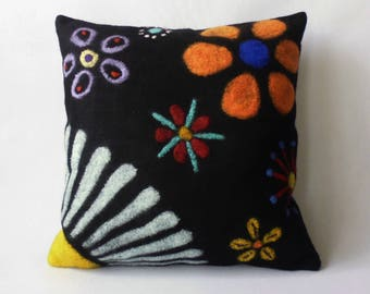 "Felt cushion ""Spring"" merino wool Handcraft, felt pillow handmade merino wool"