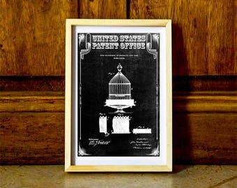 Birdcage Patent Print – Vintage Birdcage, Antique Birdcage, Bird Decor, Bird Cage Print