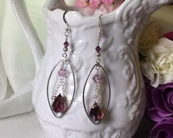 Sterling Silver, Faceted Amethyst, Purple Swarovski Crystal Earrings