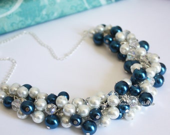 Navy and White Cluster Necklace Pearl Necklace Bridesmaids Gift Bridesmaids Necklace Navy Necklace Navy Theme Wedding
