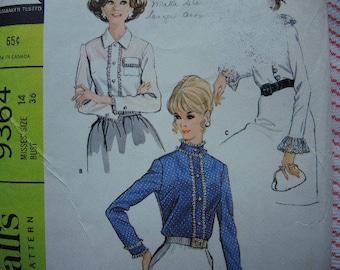 vintage 1960s McCalls sewing pattern 9364 misses set of blouses size 14