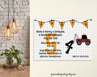 Boys Birthday Party Invitation, tractor, toddler, kids, 1st, 2nd, 3rd, 4th, 5th, card, children, digital, printable, invite